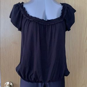 NWT Studio M cap sleeve pleated neck peasant top